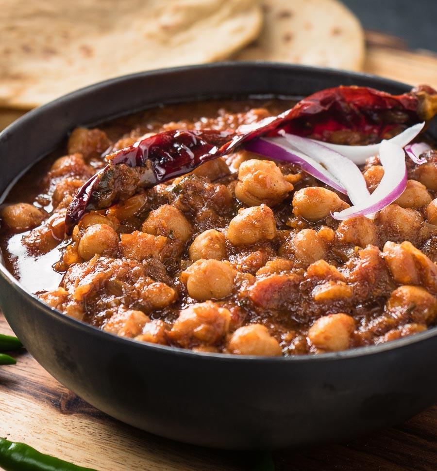 Close up of Punjabi chole masala