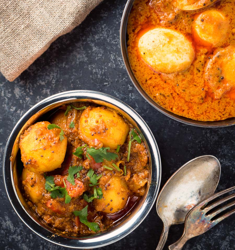 Bombay potatoes from above