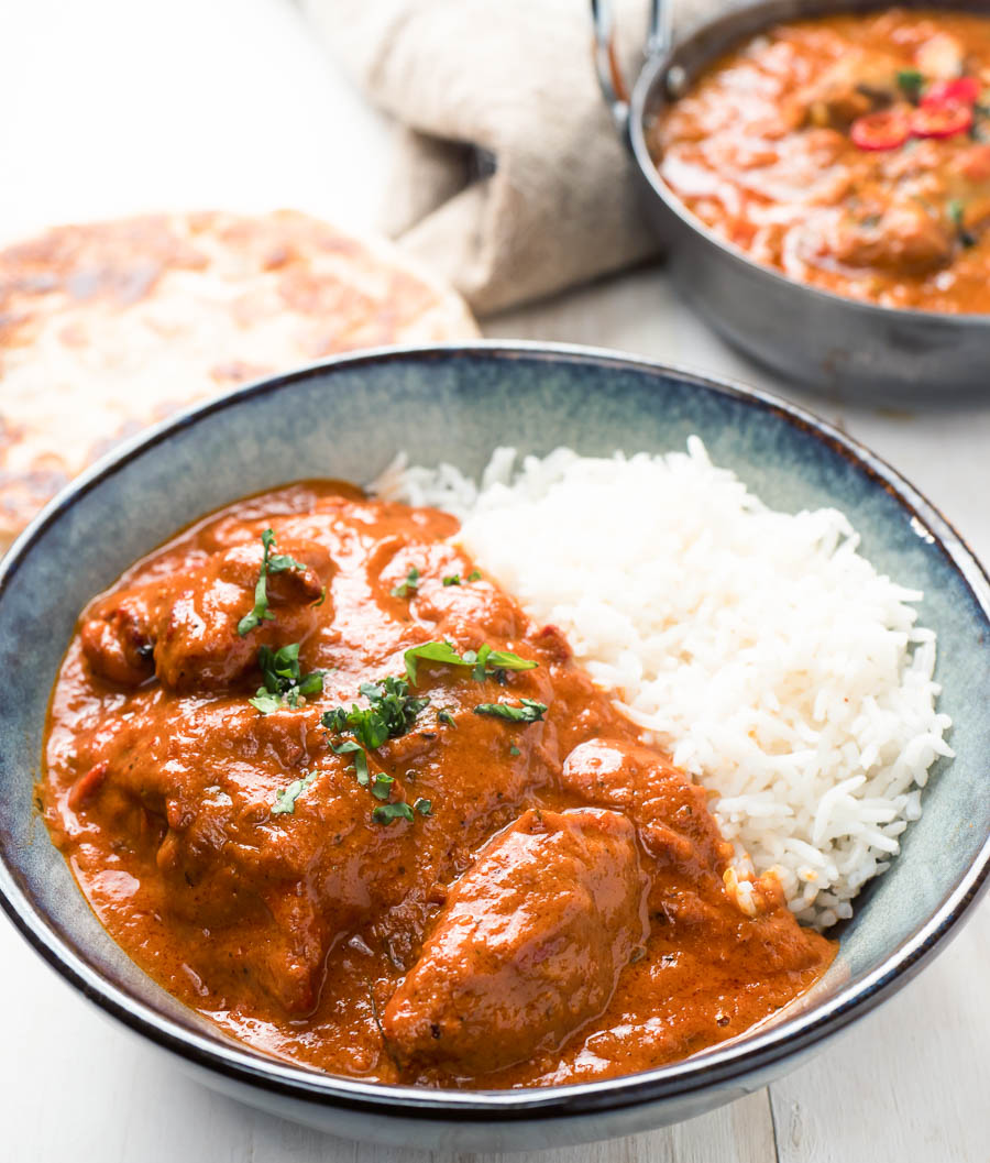 Butter chicken with rice.