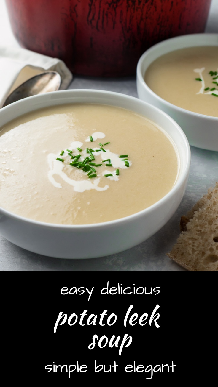 Make easy delicious potato leek soup for your next dinner party. Or serve it cold as vichysoisse.