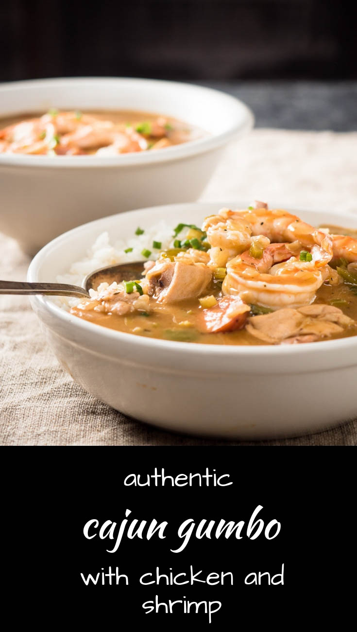 This is classic cajun gumbo loaded with chicken and shrimp.