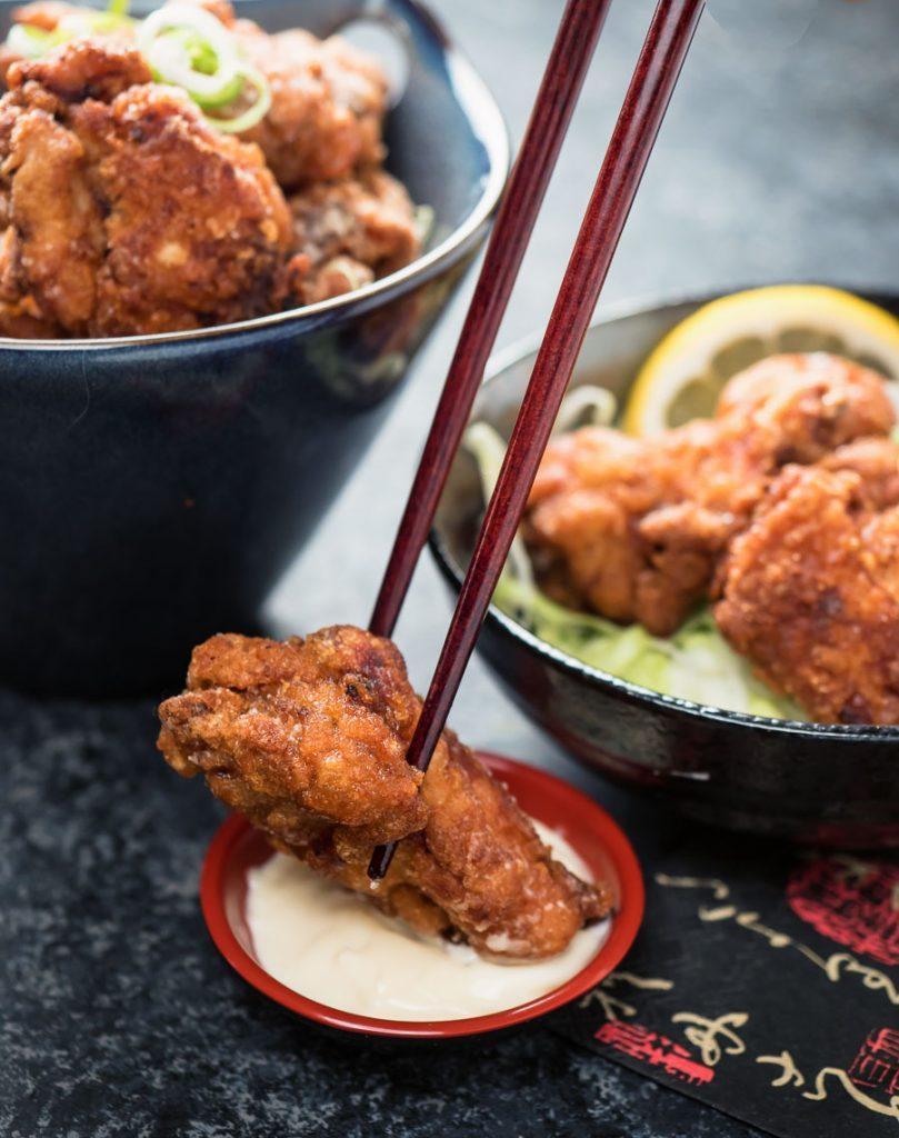 Karaage chicken dipped in Japanese kewpie mayonnaise.