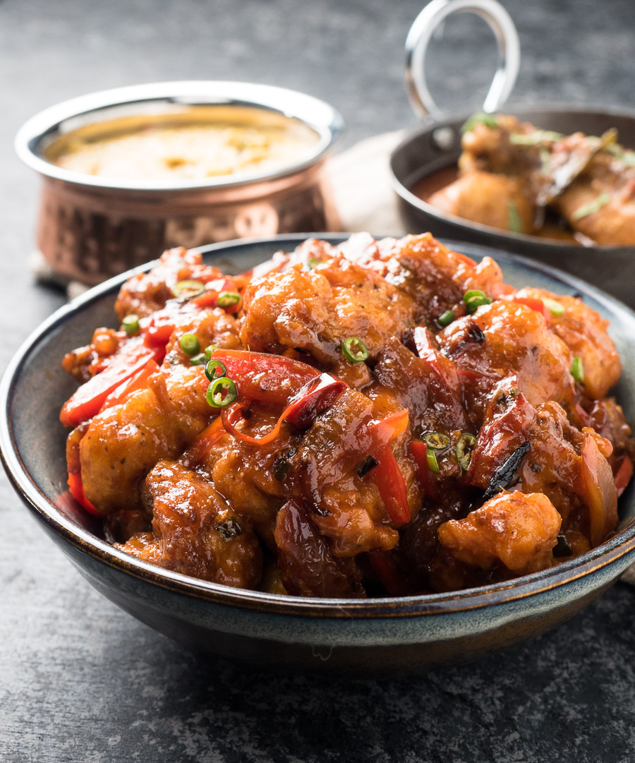 Gobi manchurian in a bowl from the front.