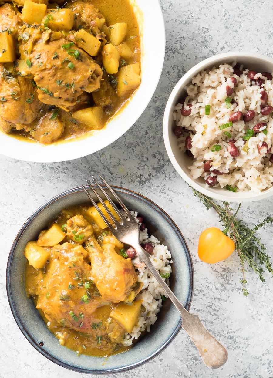 Jamaican curry chicken with rice and peas from above.