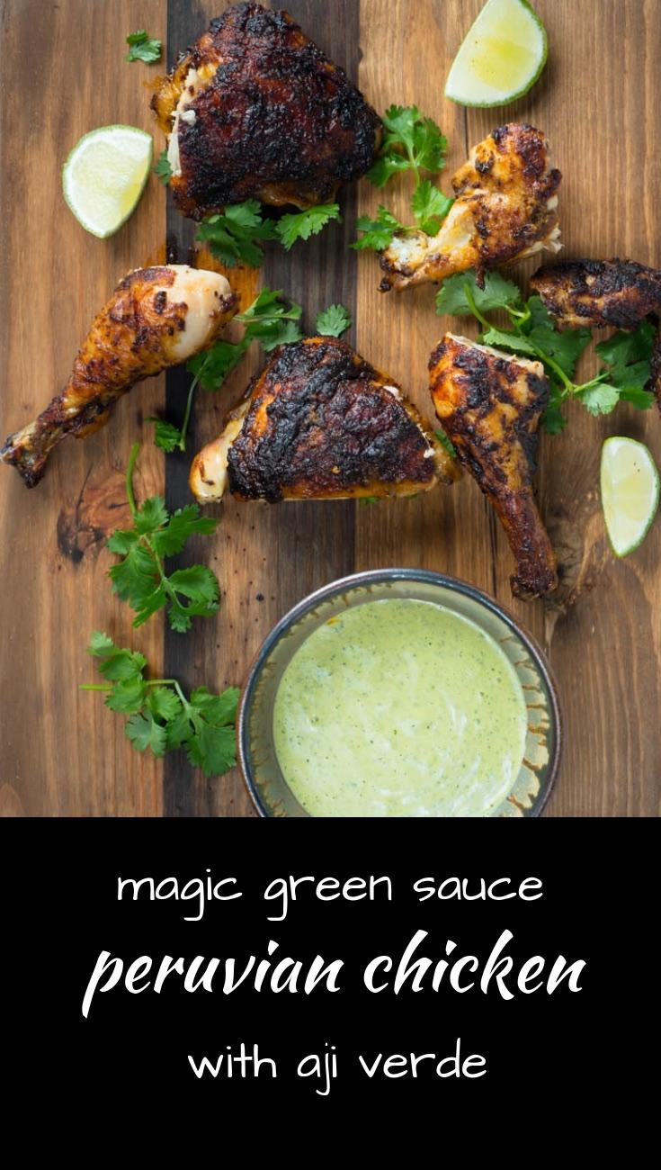 Peruvian chicken with magic green sauce - pollo a la brasa - is a fantastic way to roast a chicken,