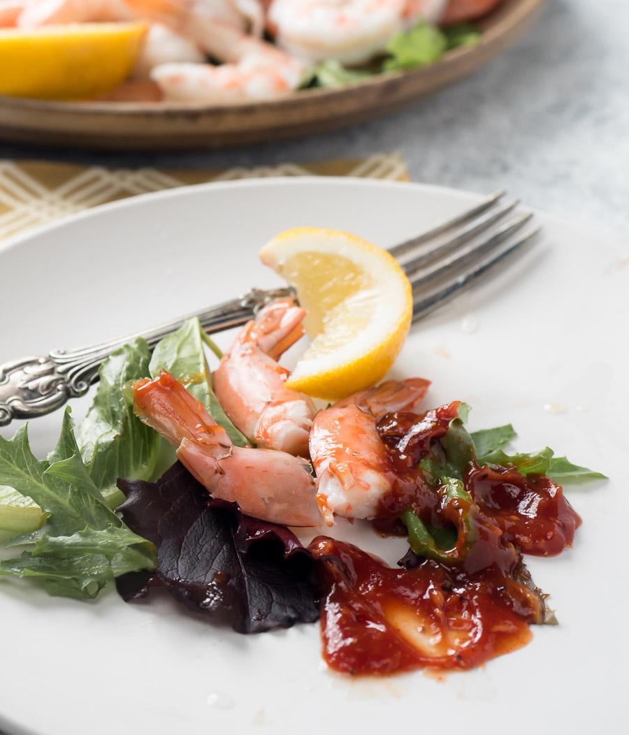 shrimp cocktail leftovers on a plate
