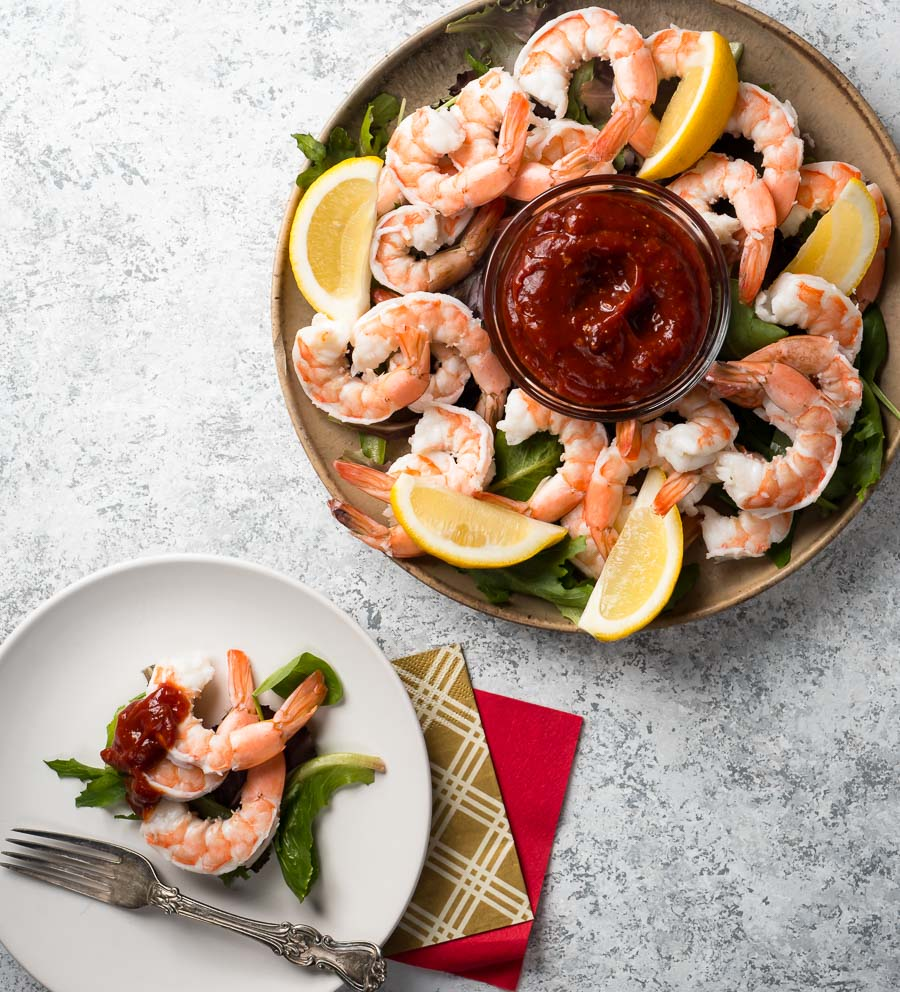 shrimp cocktail platter and single serving from above