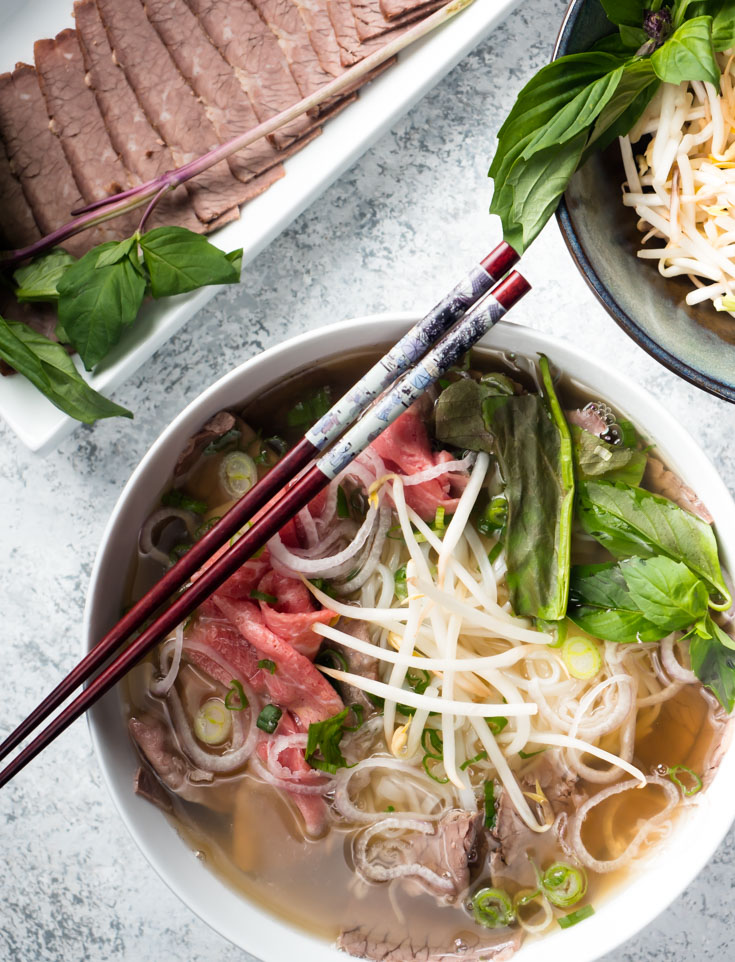 Big bowl of beef pho from above.