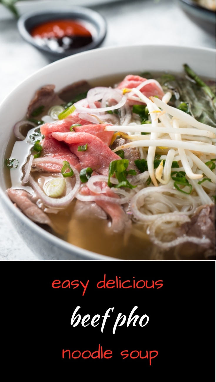 Easy Vietnamese beef pho or pho bo is a delicious bowl of Asian noodle soup!