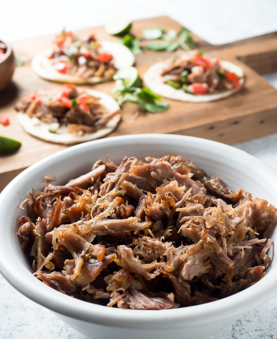 Big bowl of pork carnitas.