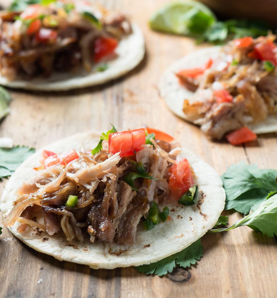 Carnitas street taco close-up.