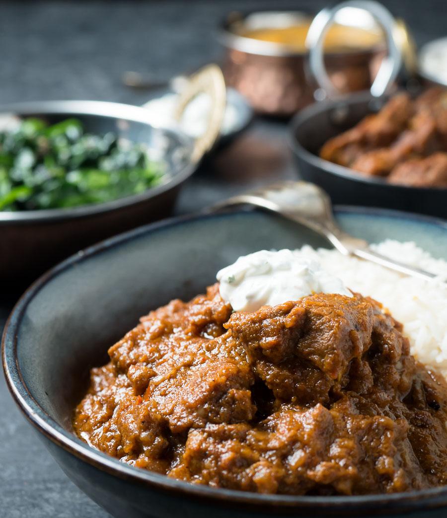 Laal maas curry with rice and raita