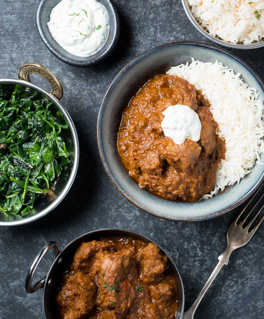 Laal maas with rice and raita from above.