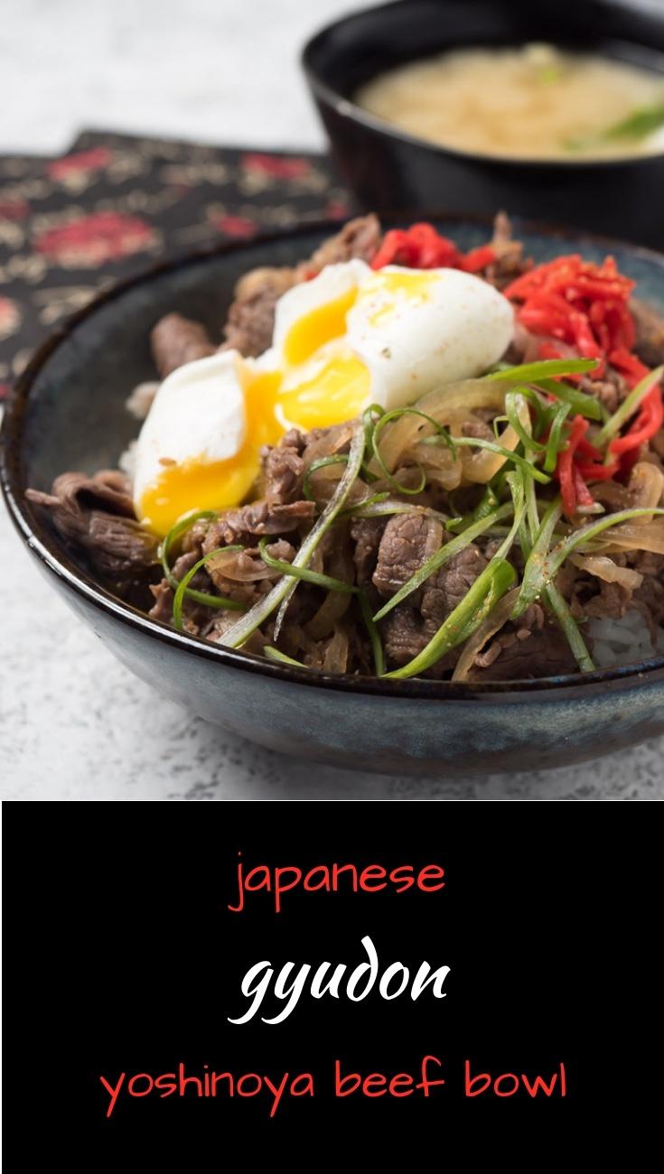 Japanese gyudon beef bowl - like they serve at Yoshinoya