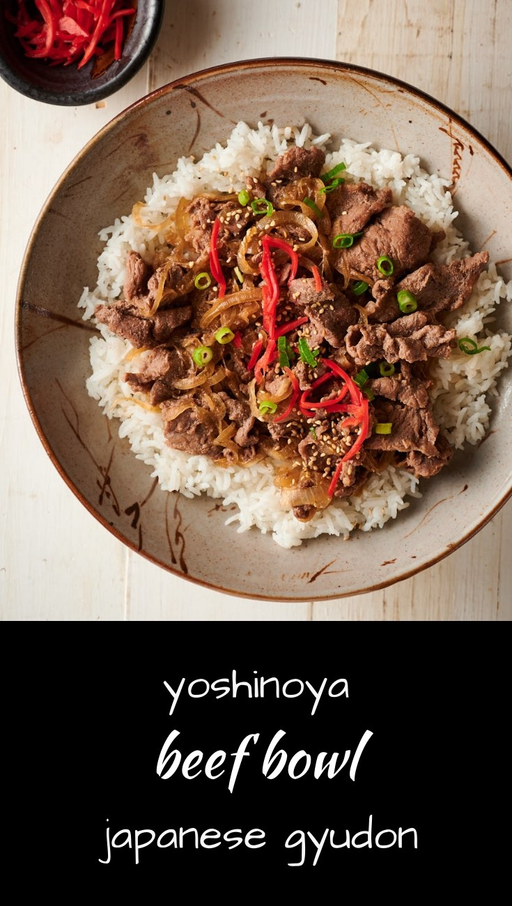 Japanese gyudon - the famous Yoshinoya beef bowl.