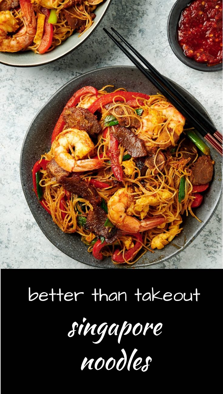 Make Singapore noodles that are better than takeout. Delicious curry noodles with shrimp and BBQ pork.