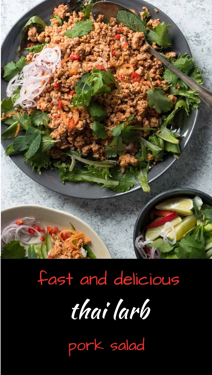 Thai larb pork salad is a delicious south East Asian dish loaded with big lime, chili and herb flavours.
