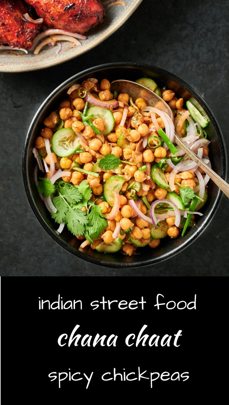 Chana chaat is delicious Indian street food. Spicy chickpeas are perfect as a snack or a side dish.