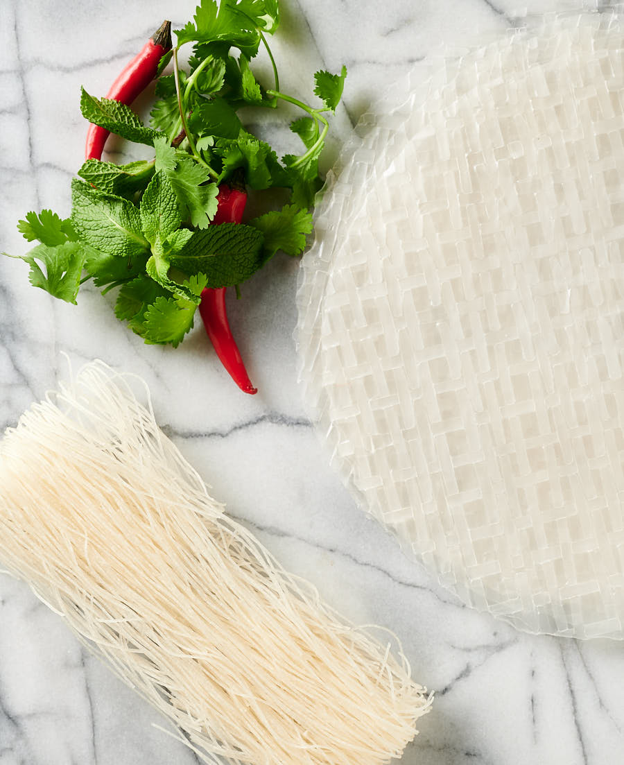 Ingredients. Rice vermicelli, herbs and rice paper from above.
