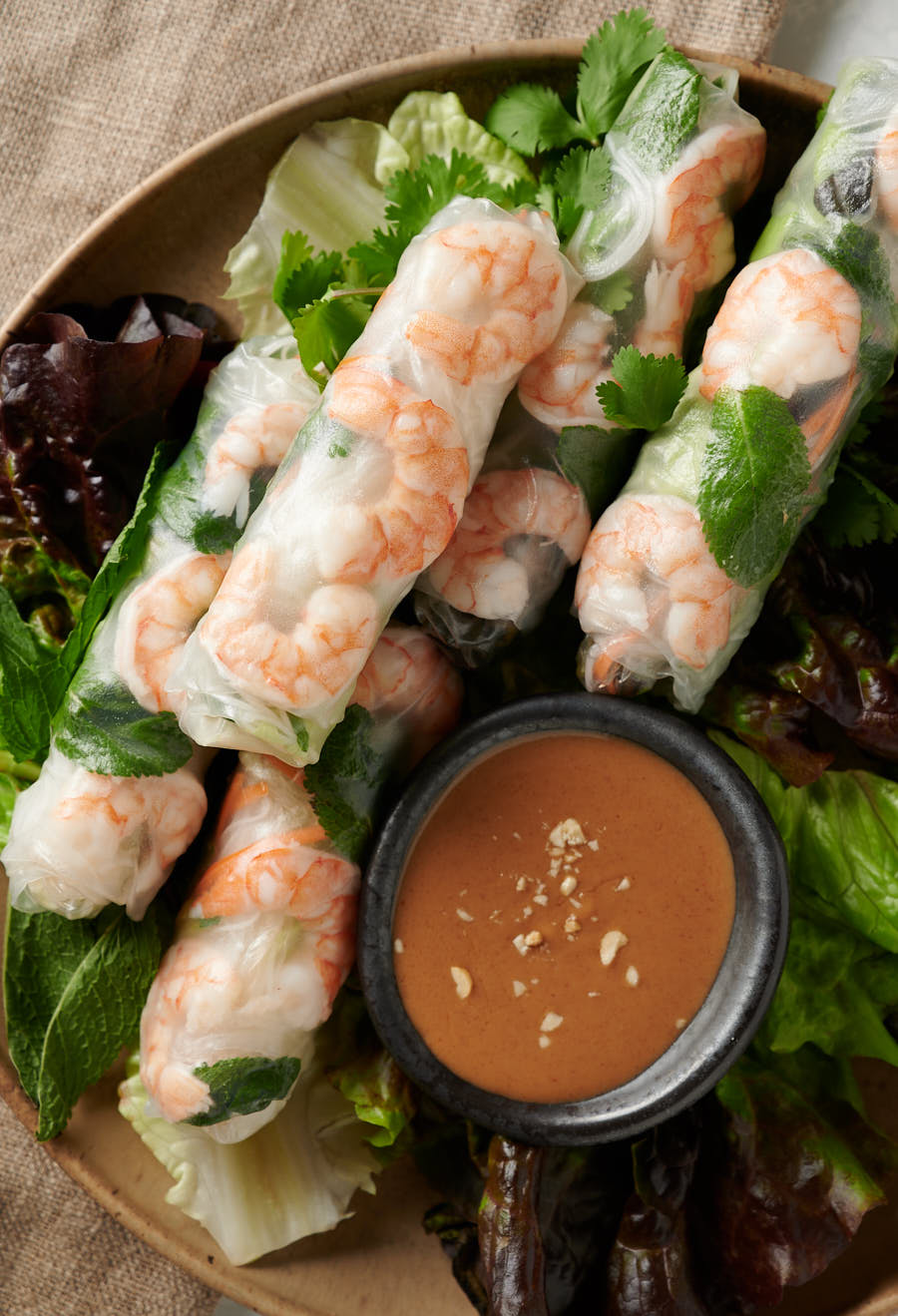 Vietnamese spring rolls with peanut sauce on a platter from above.