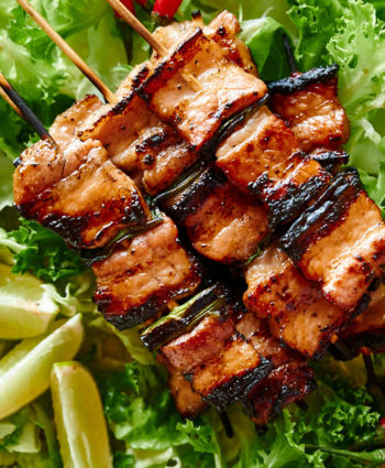 grilled pork belly skewers – asian style