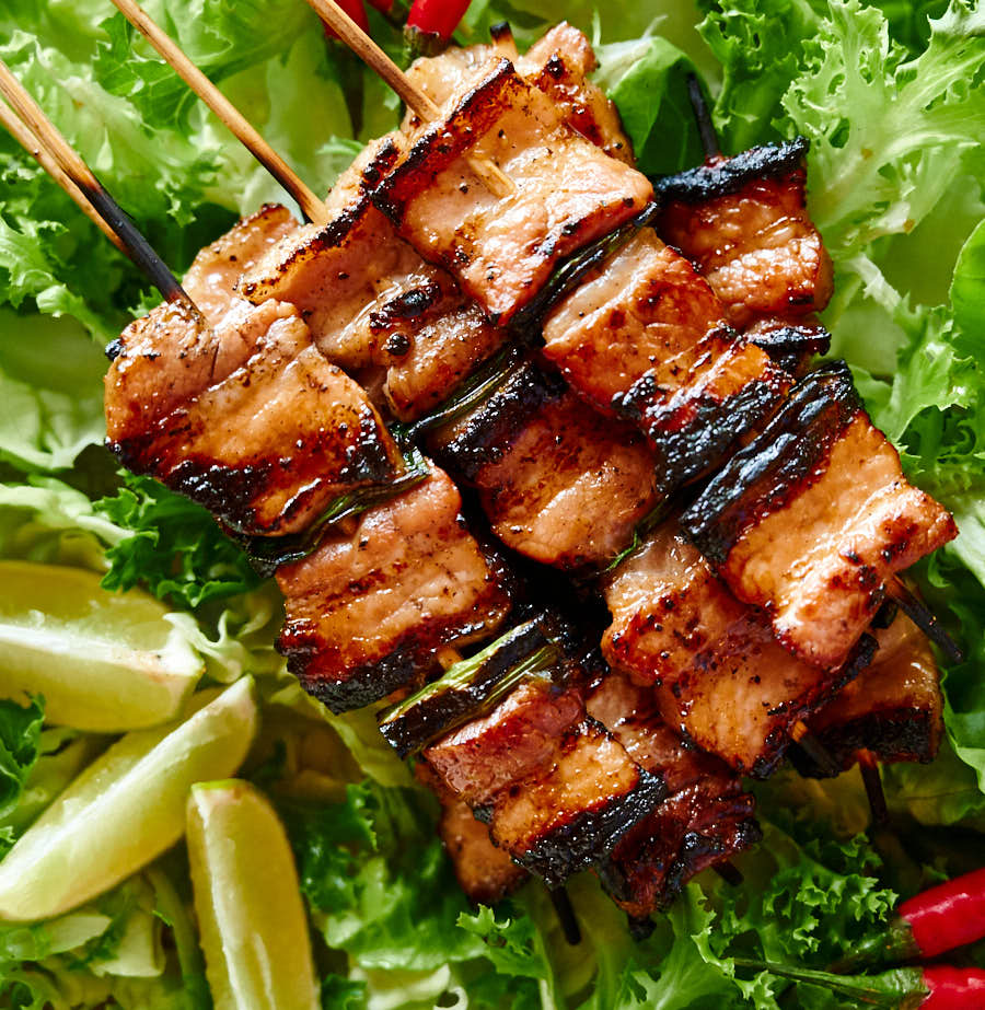 Pork belly skewers closeup - from above.