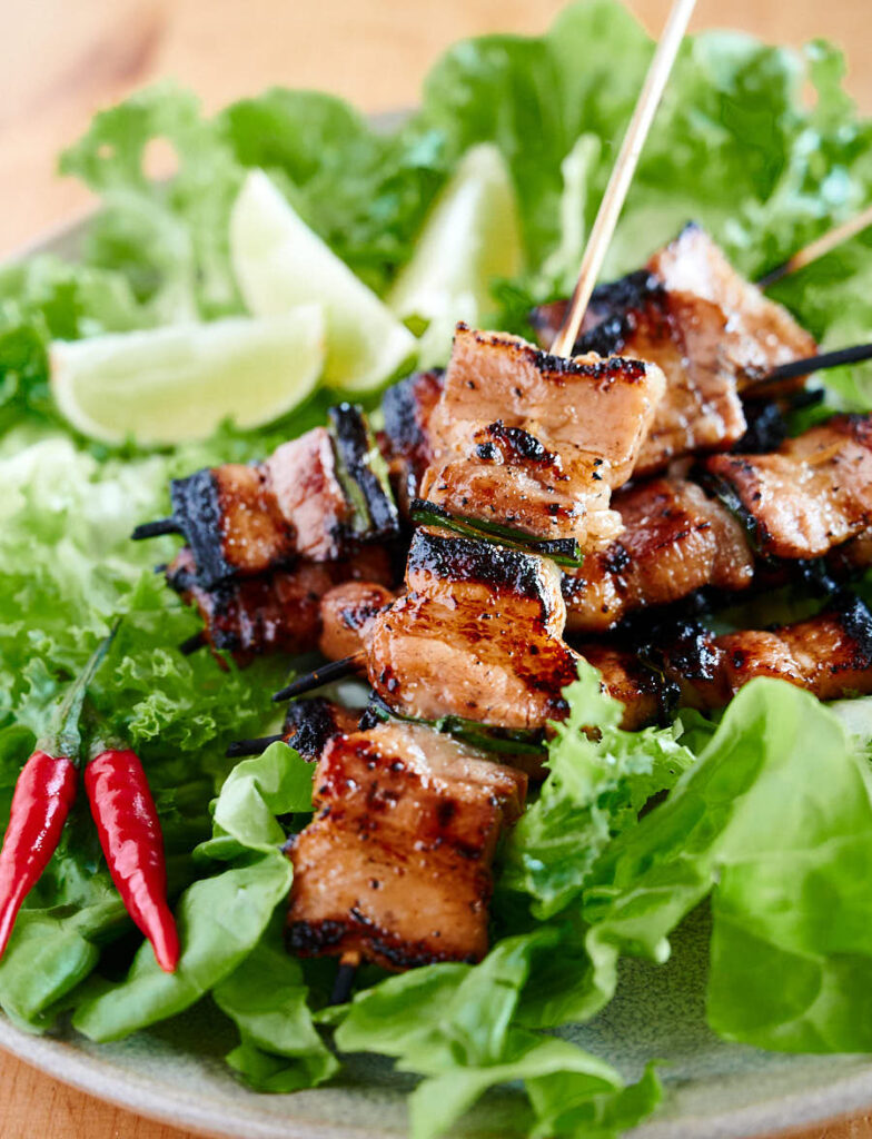 Closeup of grilled pork belly skewers from the front.