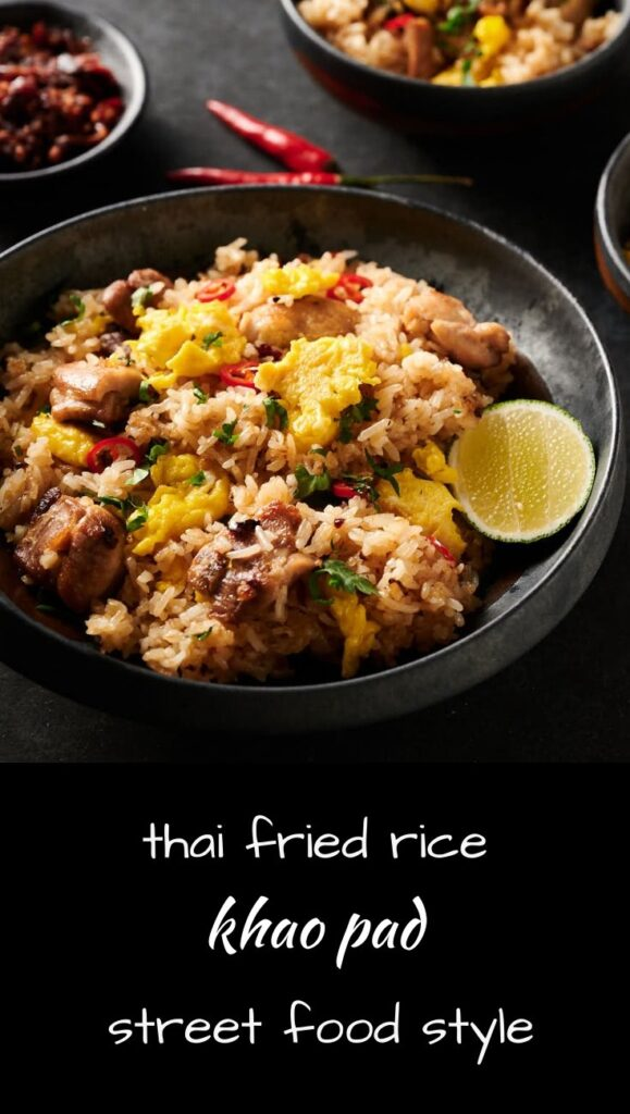 Khao pad or thai fried rice street food style.