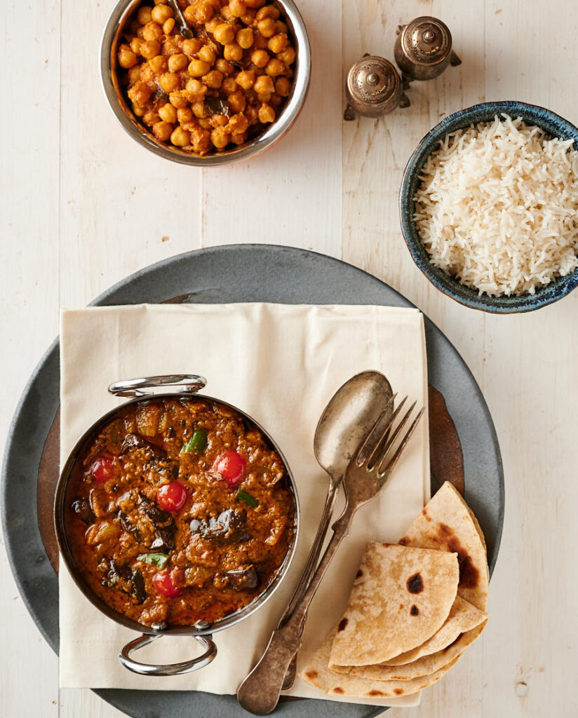 Eggplant curry, rice and chana masala from above.