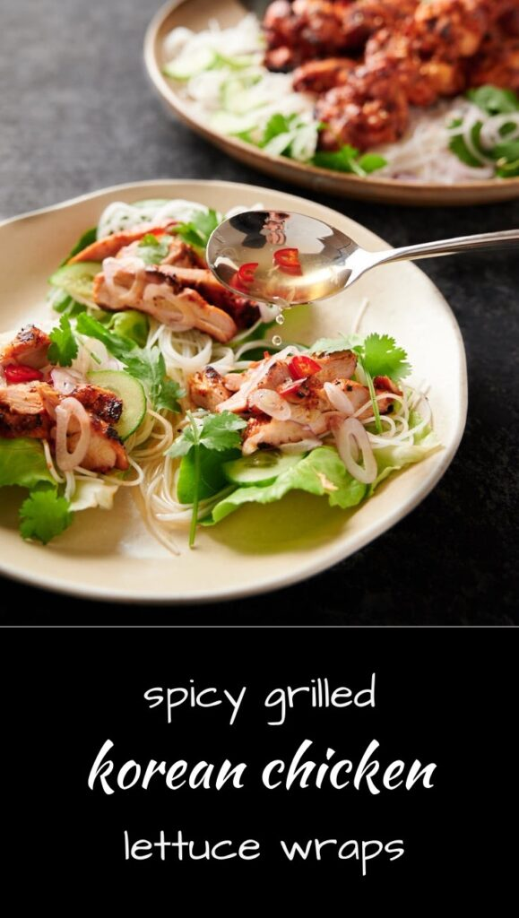 Delicious spicy Korean grilled chicken wraps make great party food!