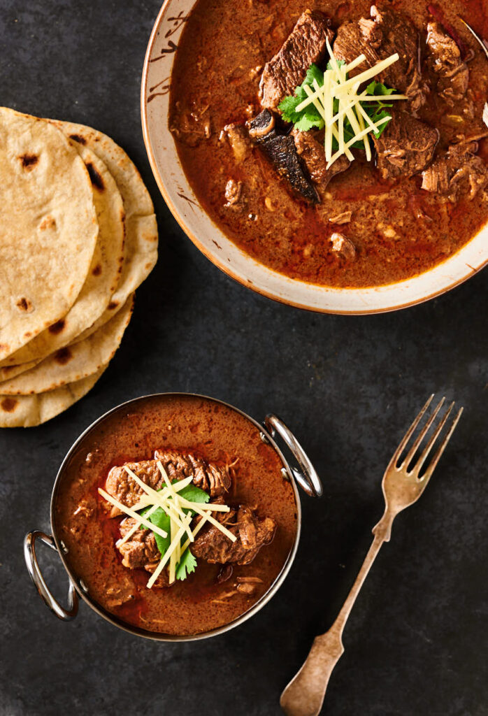 Nihari masala table scene from above.