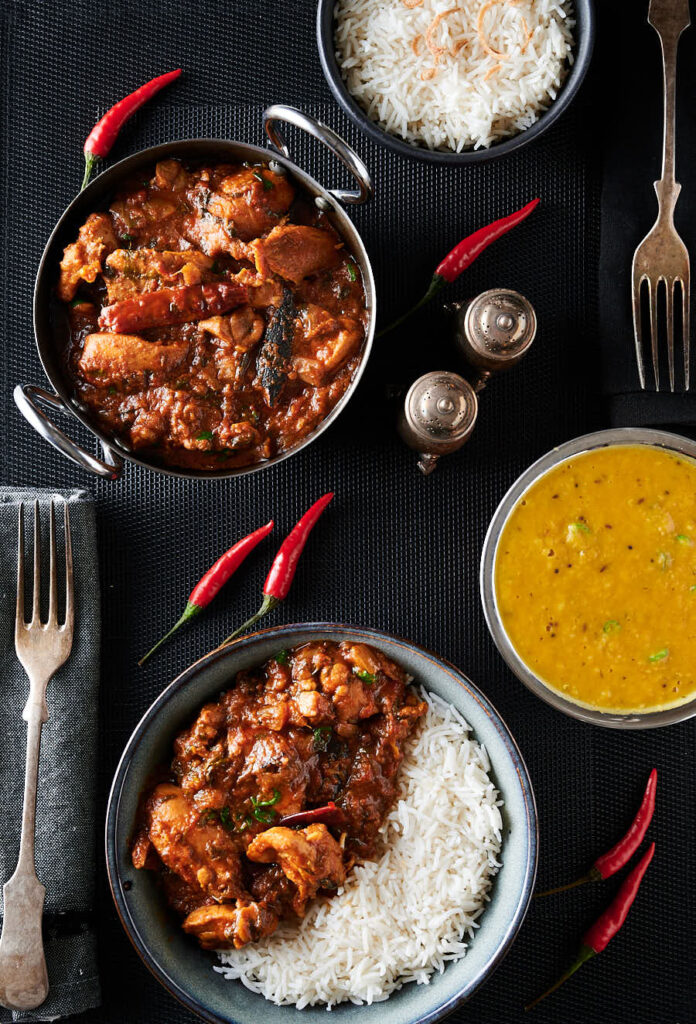 Chicken bhuna, dahl and bowl of bhuna and rice from above.