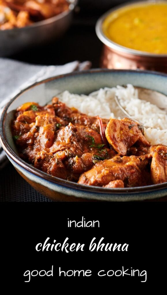 Indian chicken bhuna curry .