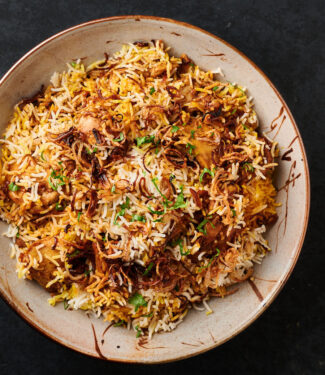 Bowl of chicken biryani from above.