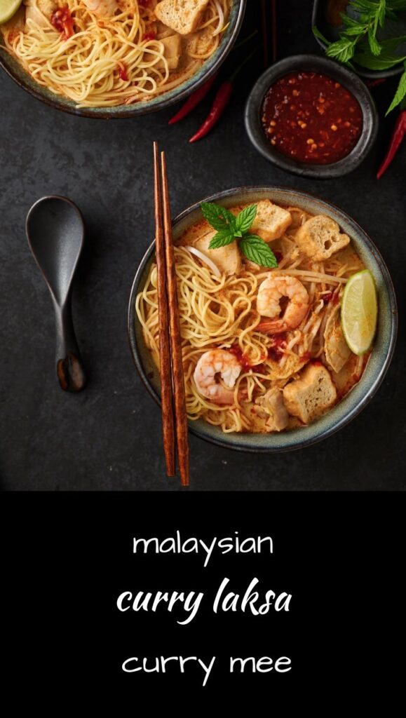 Malaysian curry mea or curry laksa is a delicious coconut curry noodle soup.