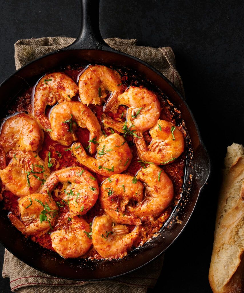 Korean bbq shrimp in a cast iron pan from above.