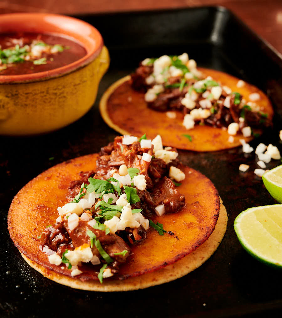 Birria taco garnished with cilantro, onion and cotija cheese crumbles from the front.