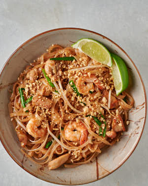 Bowl of pad Thai from above.