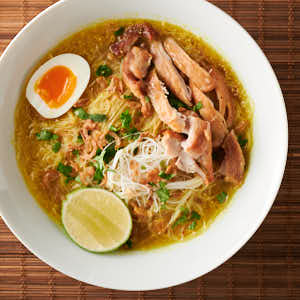 soto ayam soup bowl from above