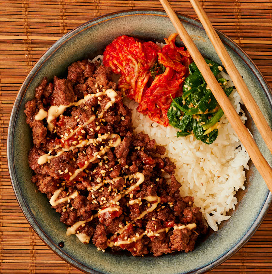 Korean beef bowl with chopsticks from above.