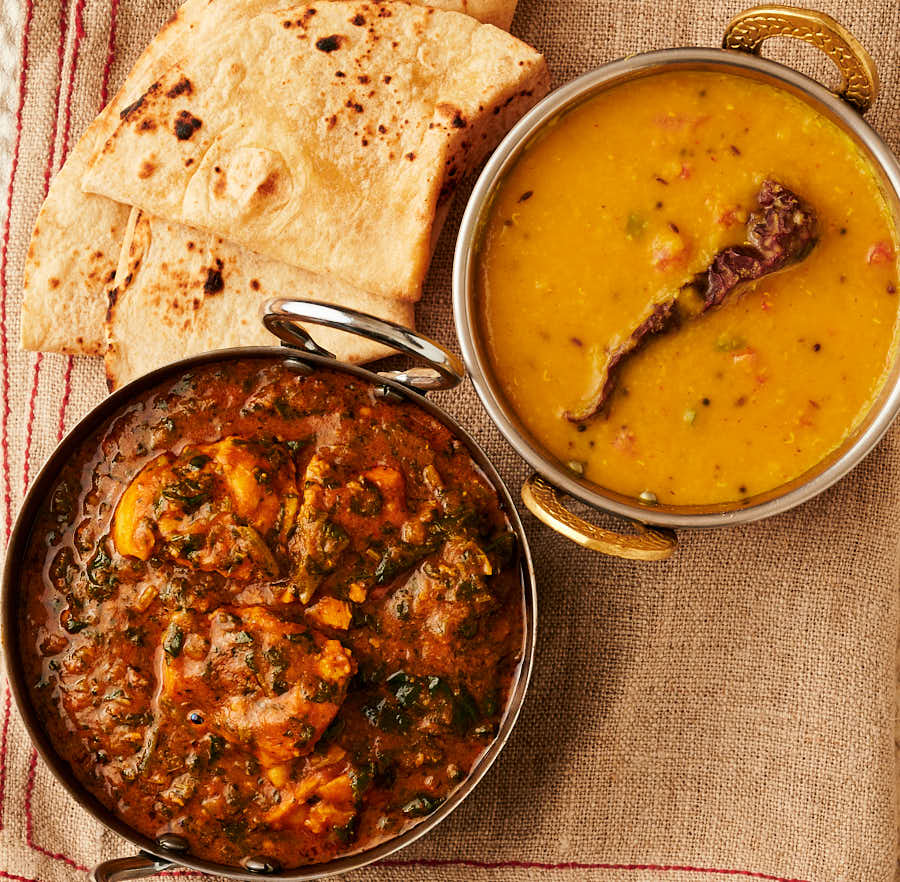 Palak chicken, tarka dal and chapatis from above.